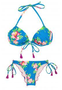Blåblomstret balconette bikini med pomponer - HOOKERI BALCONET