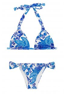 Blue and white halter bikini - HORTENSIA MEL