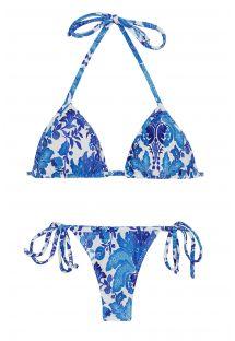 Weiß/blaugeblümter geschnürter String-Bikini - HORTENSIA MICRO