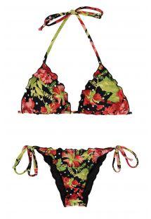 Scrunch-Bikini, floral/getupft, Rand gewellt - ILHA BELA FRUFRU