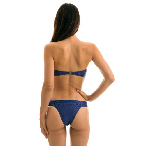 Navy blue textured Brazilian bikini with a bandeau top - KIWANDA DENIM BANDEAU