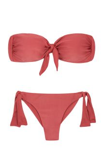 Brick color side-tie Brazilian bikini with bandeau top - MADRAS BANDEAU