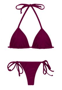 Plum side-tie string bikini with triangle sliding top - MARSALA TRI MICRO
