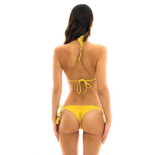 Gul rynkad string bikini med pompoms - MELON EVA MICRO