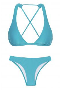 Sky blue triangle halter bikini with crossed back - ORVALHO CORTINAO