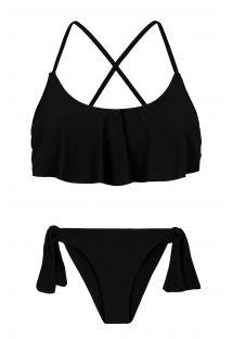 Bikini crop top à volant noir dos croisé - PRETO BABADO