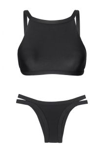 Crop top-bikini, sort med kanter i relieff - PRETO CROPPED