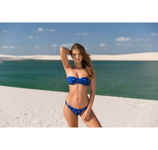 Navy bandeau bikini with bird pattern - SEABIRD BANDEAU