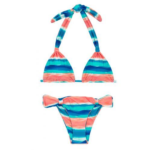 Triangel-Bikini verstellbar blau/korallenrot - UPBEAT CORTINAO