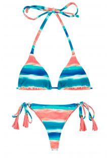 Blue and coral scrunch bikini with pompoms - UPBEAT INVISIBLE MICRO