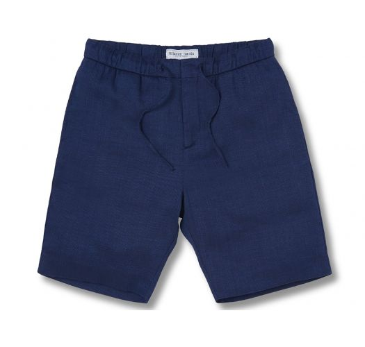 Navy blue beach shorts 100% linen with pockets - SPORT LINEN SHORT NAVY BLUE
