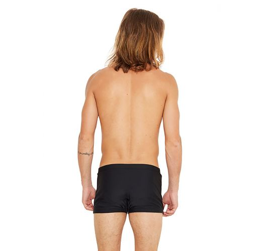 Black swim trunks with grey side stripe - FERRARI PRETO