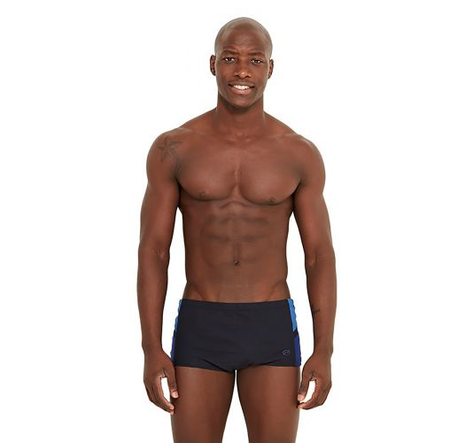 Black swim trunks with blue details - MONZA FIT PRETO