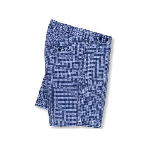 Navy blue / white geometric print beach shorts - ANGRA TAILORED LONG NAVY BLUE