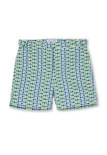 Green and blue printed beach shorts - CACAU TAILORED SHORT GREEN