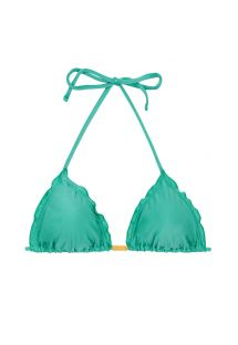 Green triangle bikini top wavy edges - TOP BAHAMAS FRUFRU