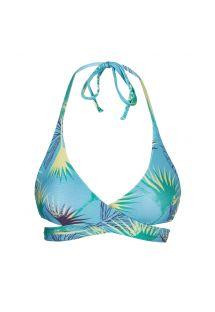 Blue graphic wrap bikini top - TOP FLOWER GEOMETRIC TRANSPASSADO