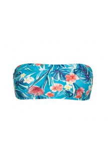 Floral blue bandeau bikini top - TOP ISLA RETO