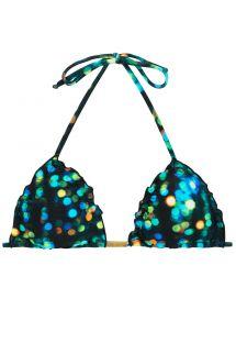 Printed black triangle bikini top with wavy edges - TOP LUCE FRUFRU