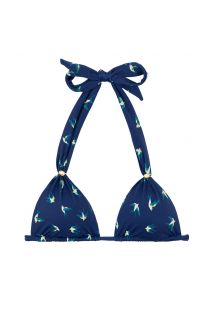 Navy blue halter bikini top with birds motive - TOP SEABIRD CORTINAO