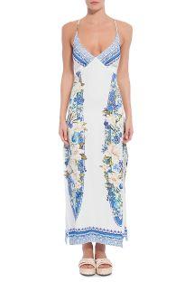 後ろが紐の白い花柄ロングドレス - VESTIDO FARM RETO FENDA FLORAL TAVIRA
