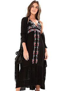 刺繍が施された黒のロングビーチドレス - VESTIDO LONGO FARM FRENTE �ICA - PRETO
