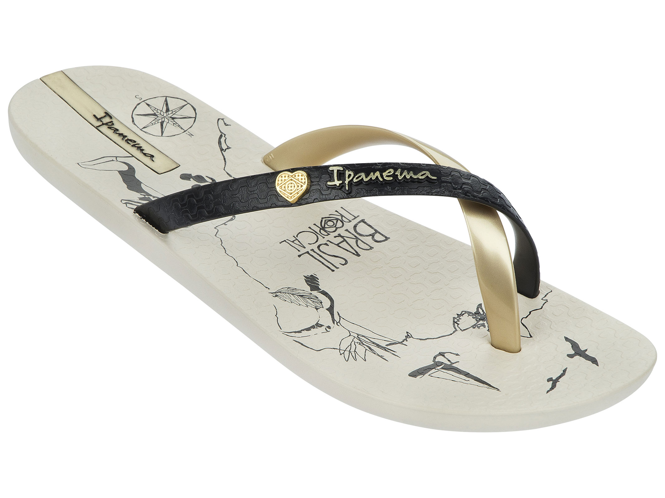 Beige Flip-flops Decorated With A Map Of Brazil - Charme Made In Brazil - Beige/black/gold