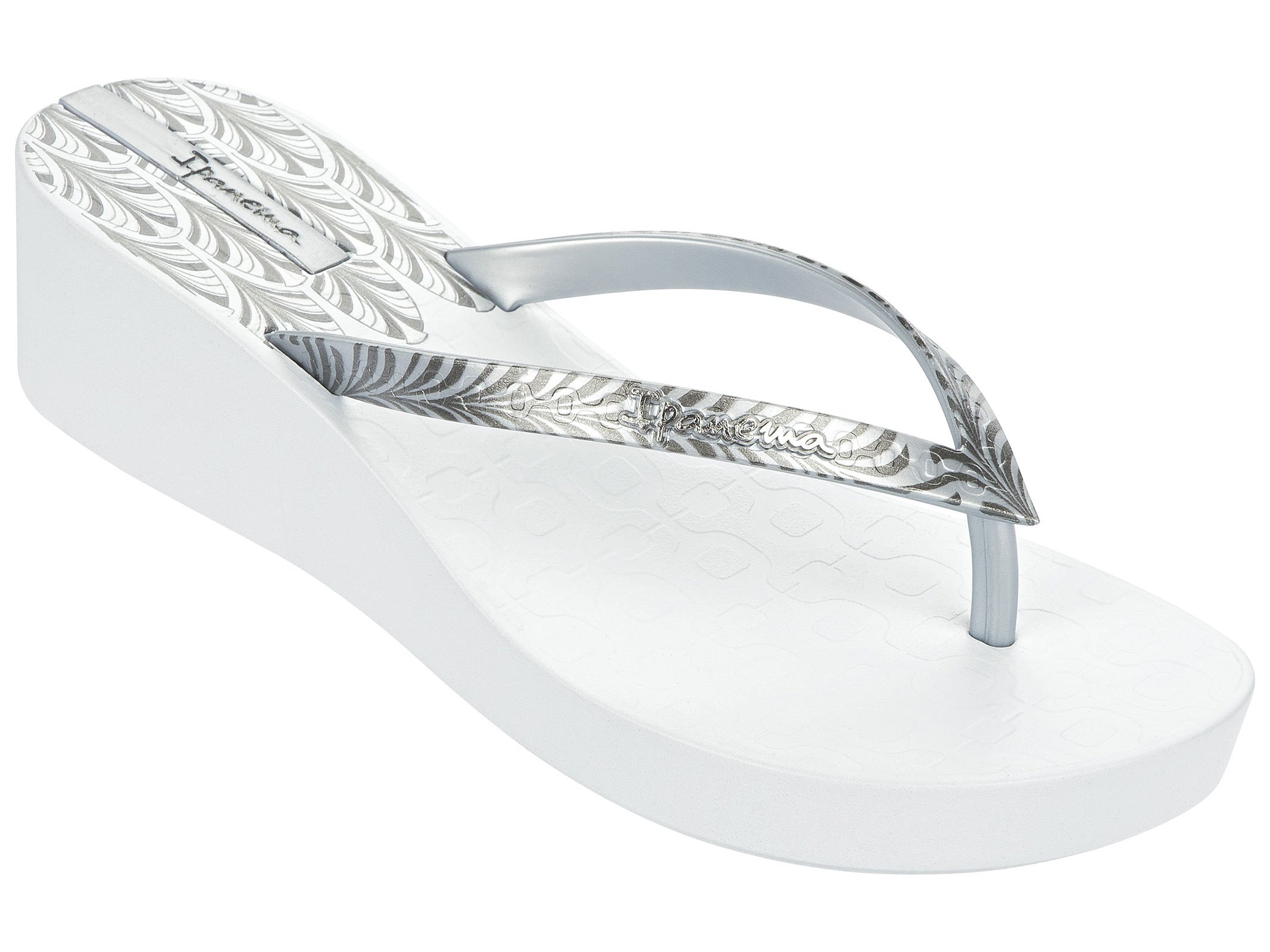 Silver Printed White Wedge Heel Flip-flops - Art Deco - White/silver