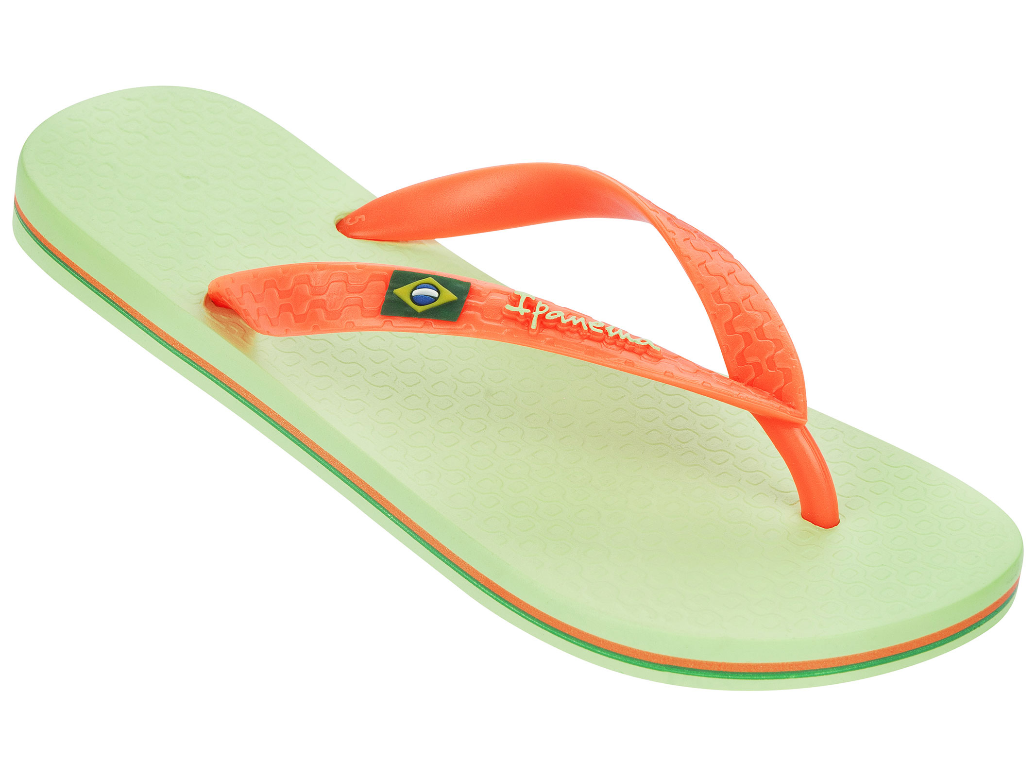 Light Green And Orange Two-coloured Flip-flops - Classica Brasil Ii - Green/orange
