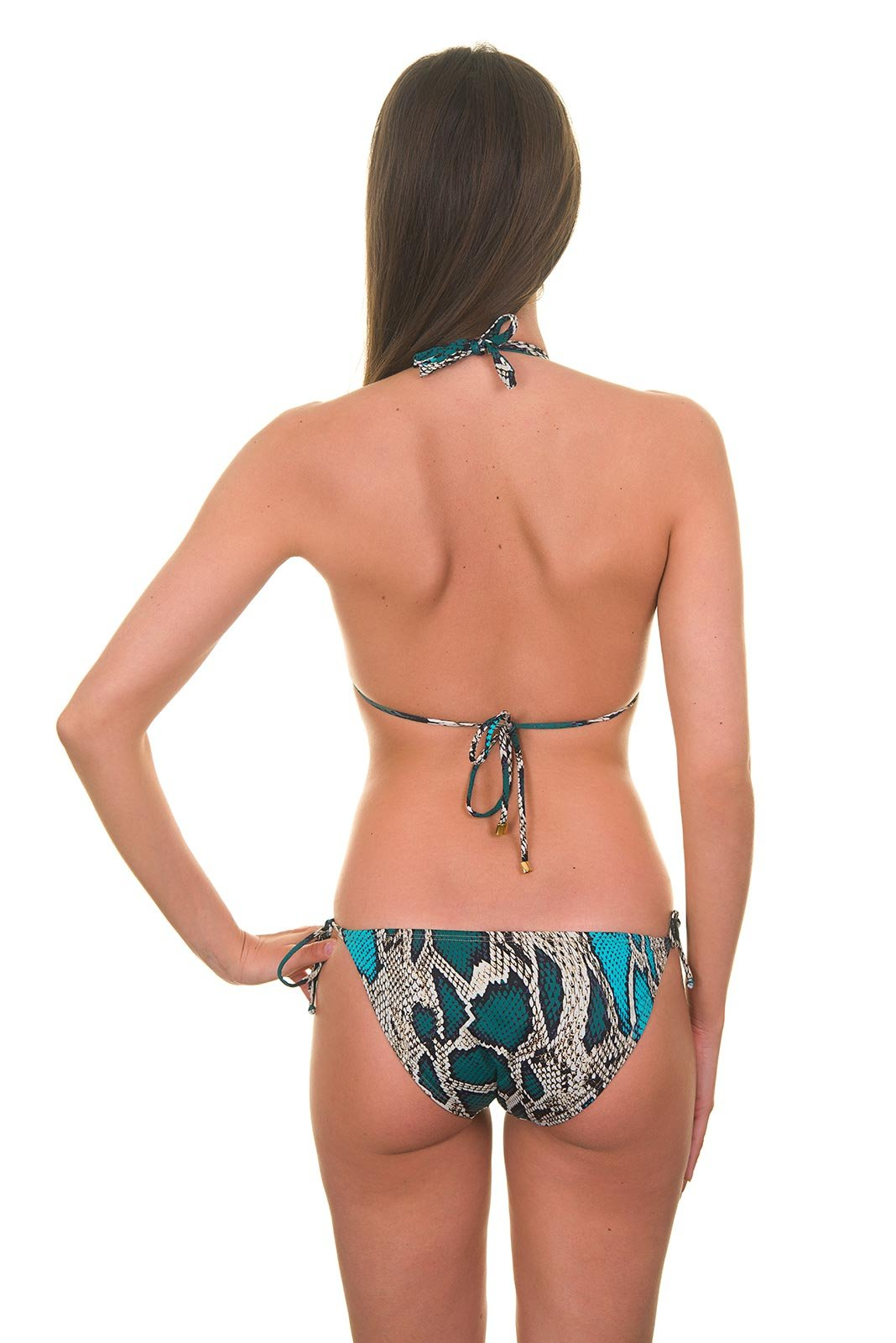 Luxury Snakeskin Print Trikini Gold Sequins Madre Selva One Piece
