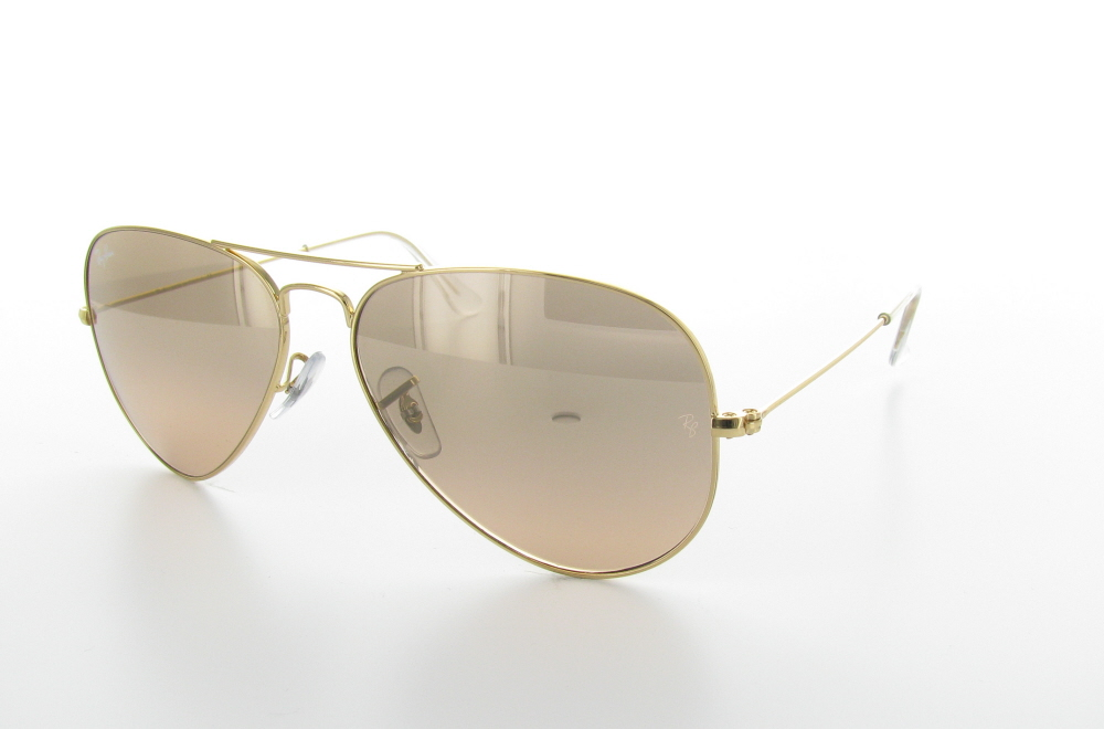 Gold-rimmed Sunglasses With Silver-pink Gradient Lenses - Aviator Gradient Silver Pink Rb3025